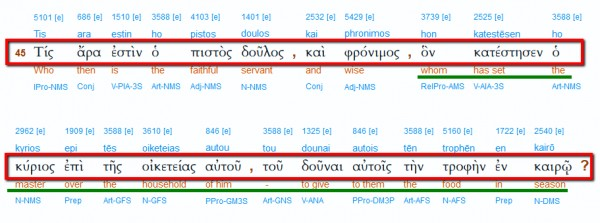 Matthew 24:45 meaning in Greek?